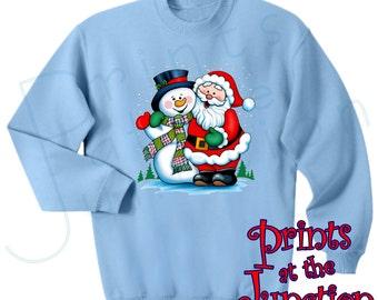 Christmas Sweatshirt/ Santa And Snowman Sweatshirt/Santa Christmas Fleece Sweatshirt/Frosty The Snowman Winter Adult Christmas Sweater