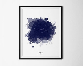 Aries Constellation, Zodiac Constellation, Aries zodiac, Stars constellation, Astronomy Watercolor, Printable poster, Digital print