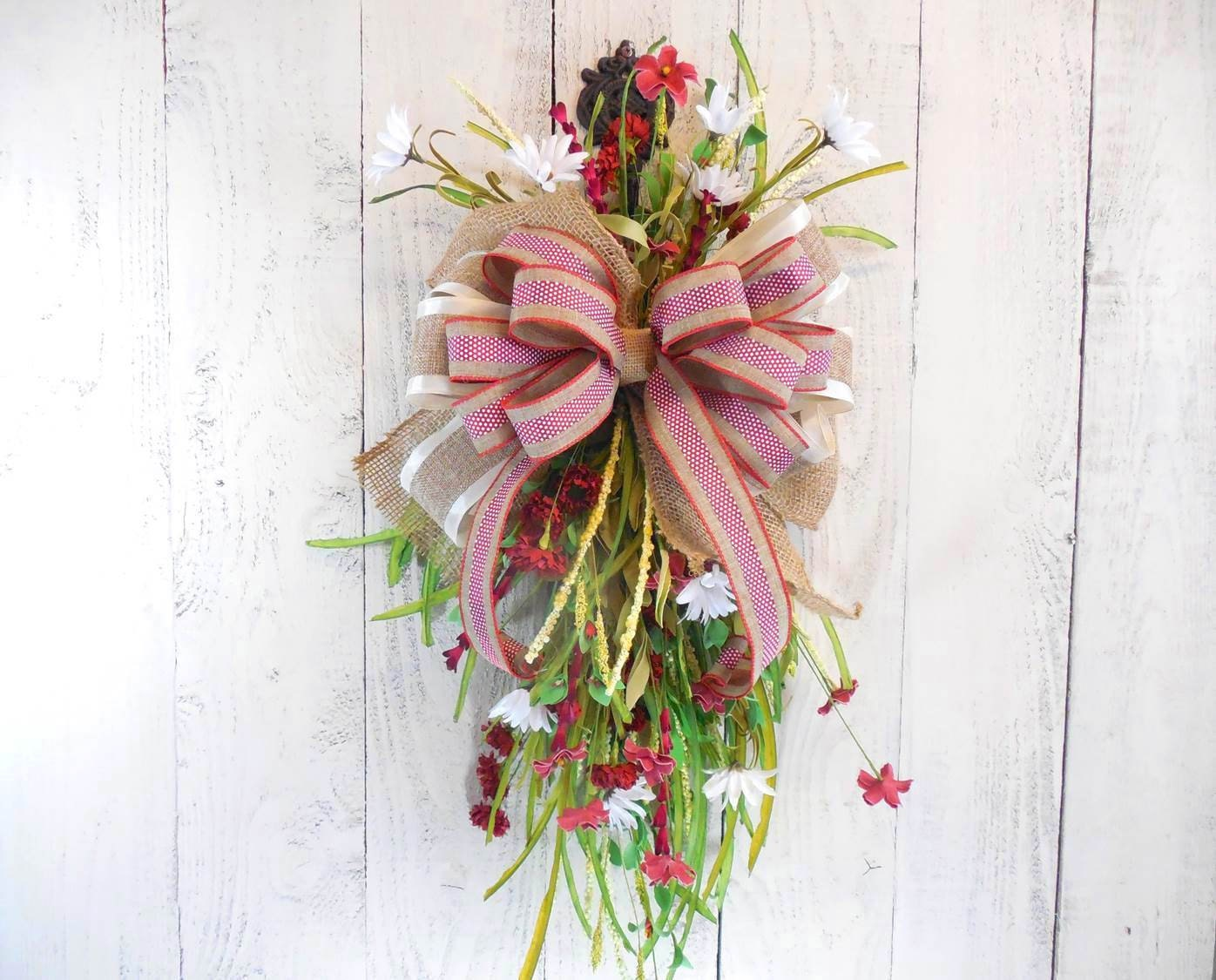 Summer and Spring wreaths Red and white Door wreath Summer