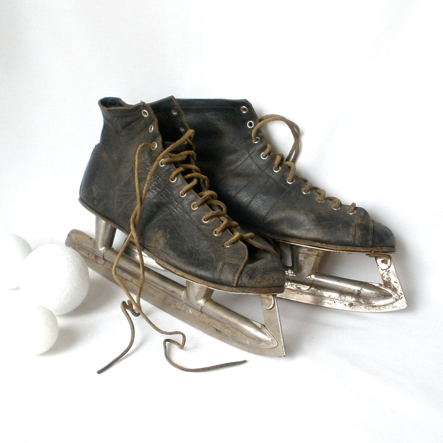 Mens Ice Skates Hockey Leather Union Hardware Vintage