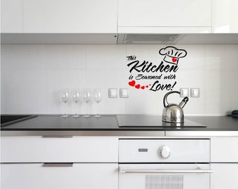 Vinyl Kitchen Decal, This Kitchen is seasoned with love, Kitchen Wall Art, Kitchen Quote