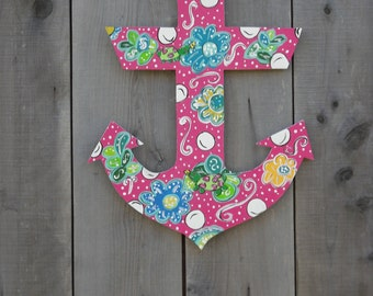 anchor door hanger - beach theme door hanger - nautical door hanger - beach signs & Custom patterned Anchor door hanger nautical door hanger Pezcame.Com