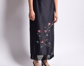 Fringed Navy Silk Skirt with Floral Embroidery Vintage Column Maxi Skirt High Waist Fringe Tassel Asian Ethnic Boho Hippie 28 M