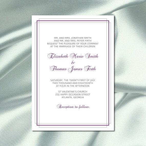 Plum And Silver Wedding Invitations