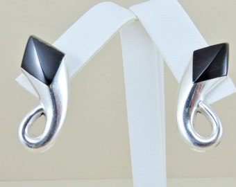Sterling Silver And Black Onyx Earrings 1 1/4""
