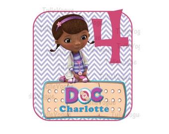 Doc McStuffins IRON ON TRANSFER  - purple chevron  - girl birthday - Birthday any name any number - Diy