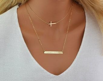 Choker Necklace Set, Layering Necklace Gold, Cross Necklace, Bar Necklace, Layered Necklace in Silver, Gold Filled, Rose Gold Filled