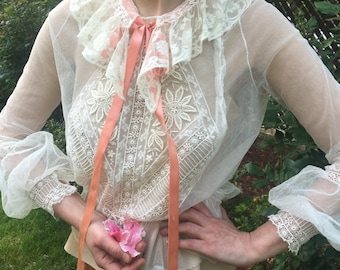 Stunning Mint Victorian Embroidered Net Blouse with Poet Sleeves