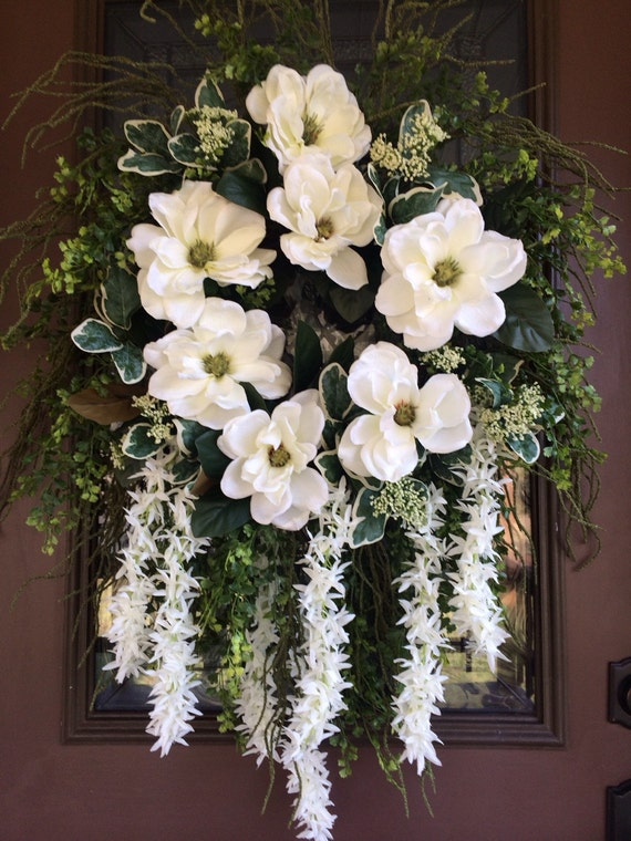 Summer Wreath Front Door Wreath Elegant Wreath Magnolia