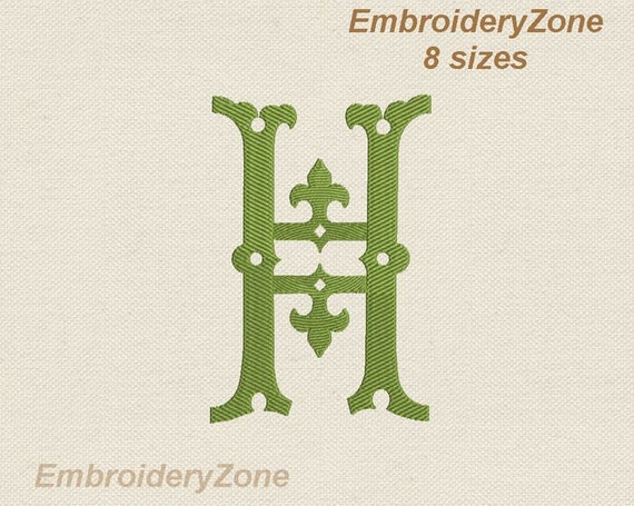 Antique monograms from old books h embroidery design letter