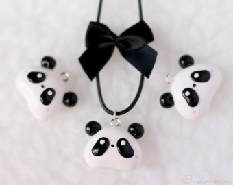 Panda bear necklace - Cute and elegant panda animal face pendant kawaii jewelry black and white handmade pendant