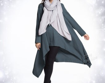 Anysize Spring Winter Dress irregular soft linen dress plus size dress plus size clothing Y293