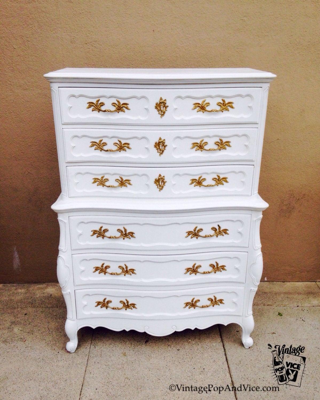 SOLD French Provincial Chest, White Chest of Drawers, Vintage White  Dresser, Antique Bedroom Dresser, Hollywood Regency Chest, White Glam Dr