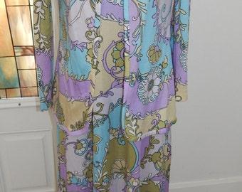 Vintage 70s Pat Richards Op Art Abstract Maxi Nylon Neiman Marcus Dress