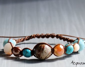 Macrame bracelet with Brown cotton yarn and coloured stones, silver tree pendant.