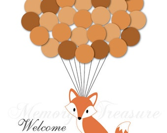 Baby Shower Guest Book Alternative Fox Baby Shower Birthday Balloons Poster Print Guest Sign In Personalized Unique Creative Fun Original