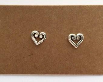 Sterling Silver Heart Stud Earrings | Stud Earrings | Sterling Silver | Minimalist | Heart Earrings | Kids Earrings | Heart Jewelry