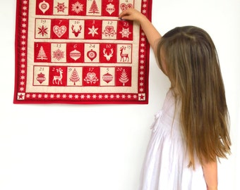 Nordic Advent calendar - Scandinavian Christmas advent calendar - Christmas countdown calendar - Fill your own fabric advent calendar