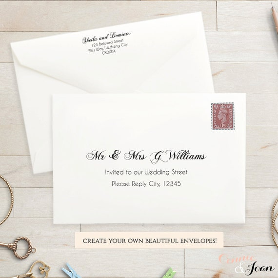 Printable Wedding Envelope Template X Front And Back