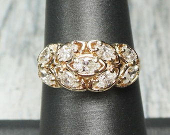 Vintage Gold and Diamond Ring 14K  Vintage Diamond Cluster Ring Marquise Diamond Ring Dome Ring Right Hand Ring Yellow Gold Size 7