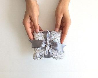 EXPRESS SHIPPING, Wedding Ring Bearer Pillow, Fishnet Sequin Ring Pillow, Silver Ring Pillow, Silver Ribbon, Boho Wedding, Bride Gift Idea