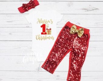 First Christmas Outfit, 1st Christmas Outfit, First Christmas Onesie, 1st Christmas Onesie, Personalized Christmas Outfit, Christmas Shirt