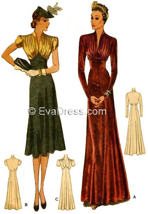 1940s Fabrics and Colors in Fashion 1938 Day or Evening Dress Pattern by EvaDress one of our most popular! $22.00 AT vintagedancer.com