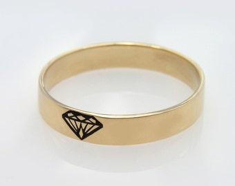Gold wedding band,unisex ring,men ring, 14K solid gold ring with diamond engraved shape, Diamond silhouette ring, Diamond ring