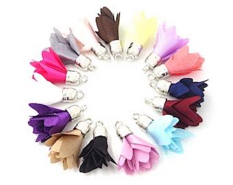 Small Tassels - Flower Tassels - 10 Silver Cap, Assorted Color, Layered Fabric Tassels for Jewelry - Petite 28mm Tassel Charms - TB-1S01