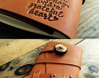 SALE 50% OFF!!! Start Each Day With A Grateful Heart Refillable Leather Journal Notebook...Sale TODAY..Made in Portland