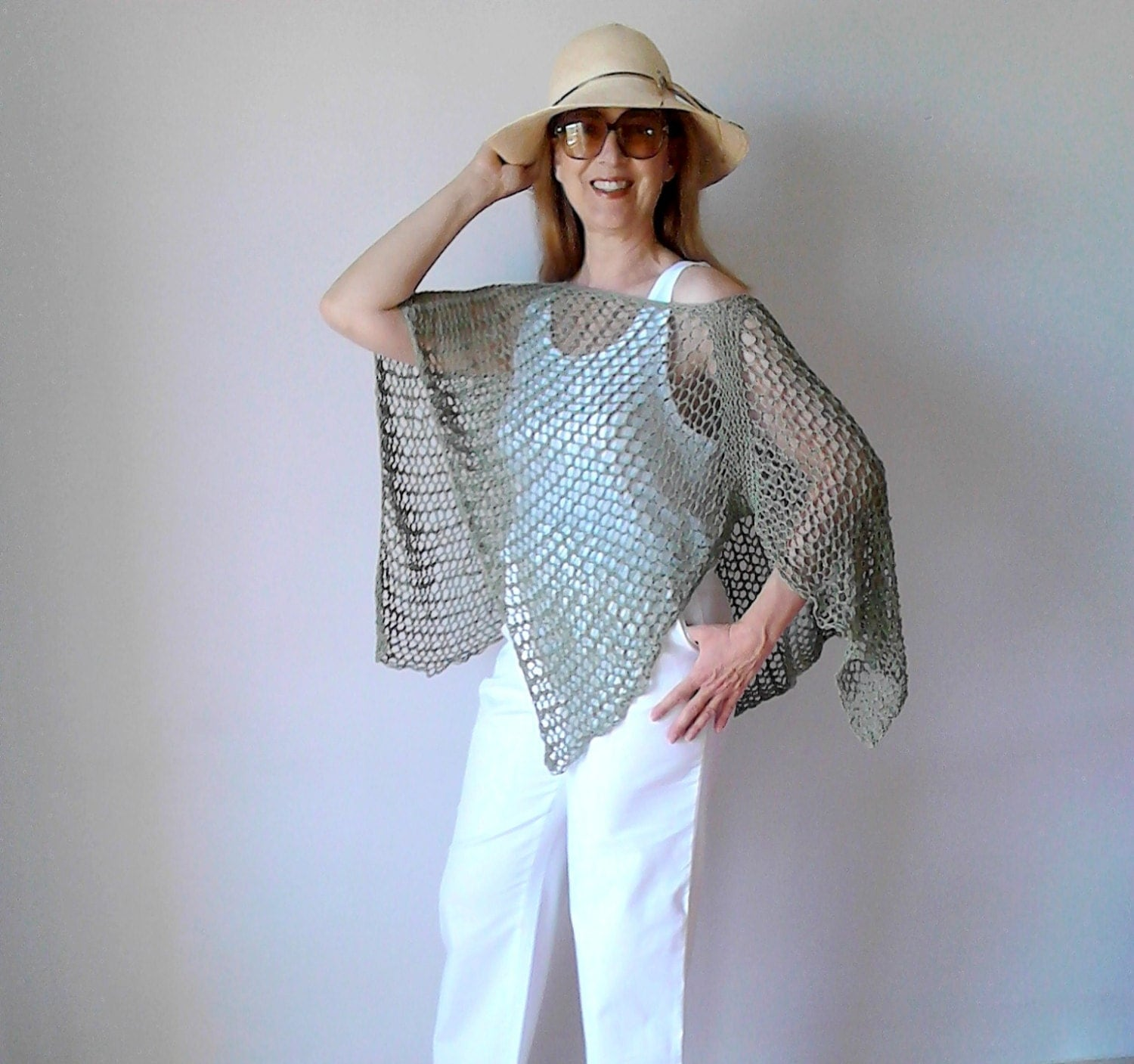 Knitting Pattern For Summer Poncho : Crochet poncho summer poncho beach cover up boho chic by PlexisArt