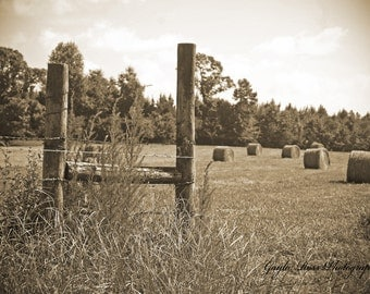 Hay Field Photography,Hay Bale Photography,wooden Fence post,Agriculture Photo,Fence,Rustic Photography,Farm Photography,Country Photograph