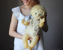 Soviet Baby Doll / Cute 1960's USSR Vintage Blue Eyed Doll w. Blond Hair / Collectible Large USSR Russian Doll, Original Clothes