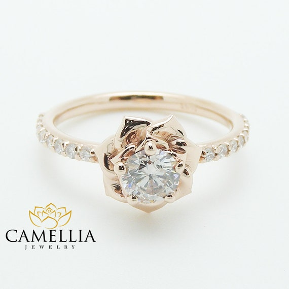 Flower Rose Unique Engagement Ring Right Hand Diamond Ring 14K