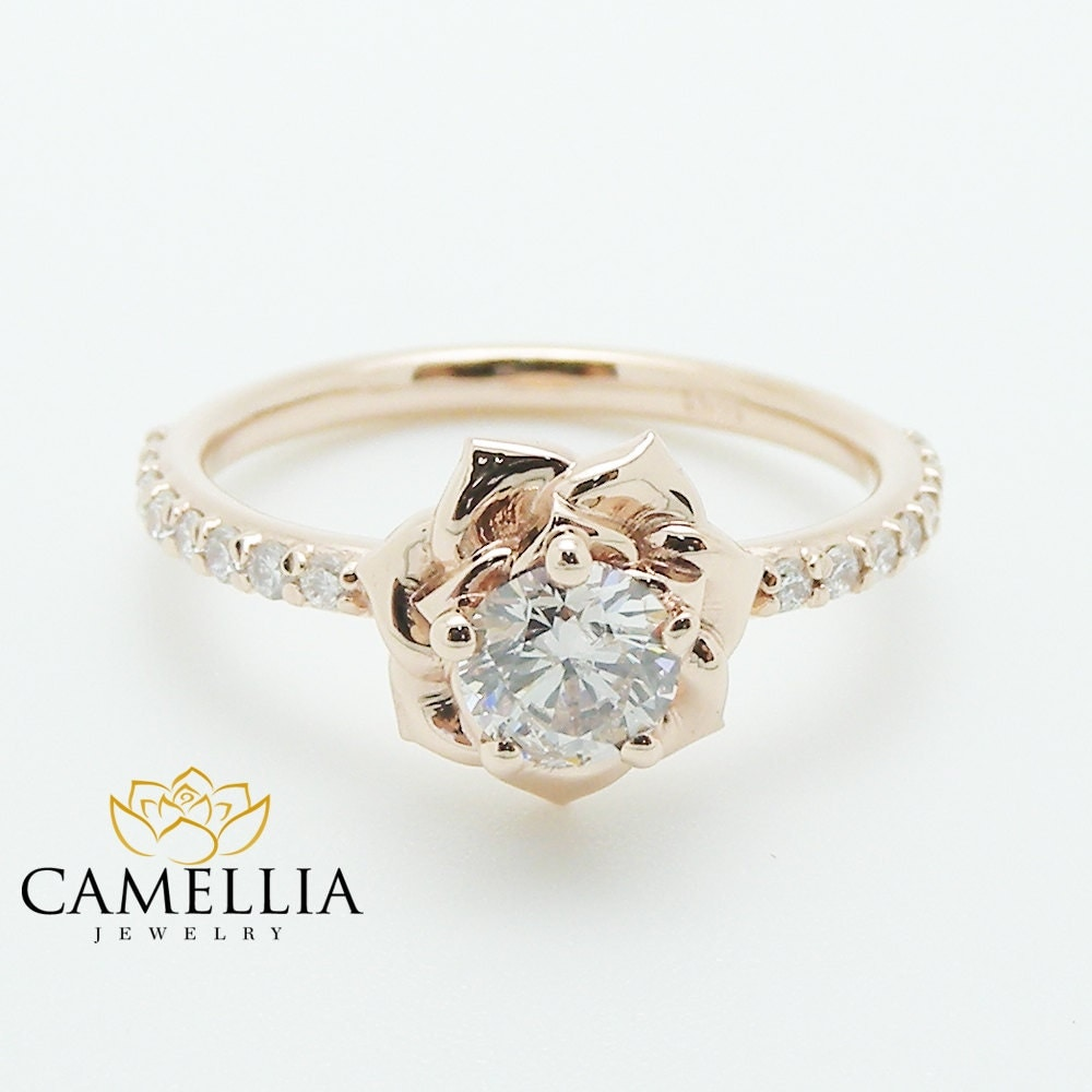 Unusual Engagement Rings: Flower Rose Unique Engagement Ring Right Hand Diamond Ring 14K