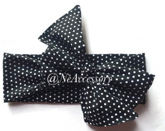 Polka Dots Fabric Head Wrap, Black And White Head Wrap, Fabric Bow, Turban Headband, Baby Bow Headband, Adult Turban Headband, Infant-Adult