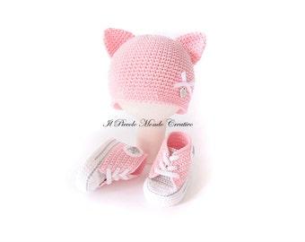 Baby Girl Set Crochet Baby Set Baby Hat Baby Sneakers Crochet Booties