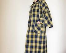 Wool trench coat Blue yellow Scottish plaid Vintage Retro handmade overcoat 1970 Cape sleeve Movie costume Theater disguise Halloween coat