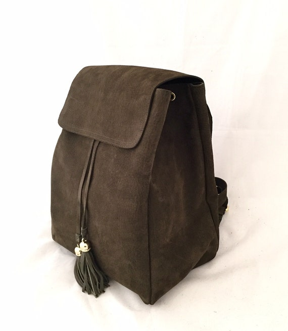 Trendy BackPack Khaki Greenish-Brown Medium Large Leather Bag OLA Olaccessories FREE SHIPPING