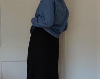 Black linen maxi skirt
