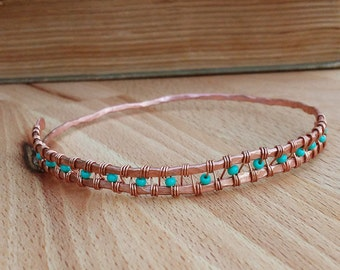 Hammered Woven Copper Bangle with Turquoise Beads