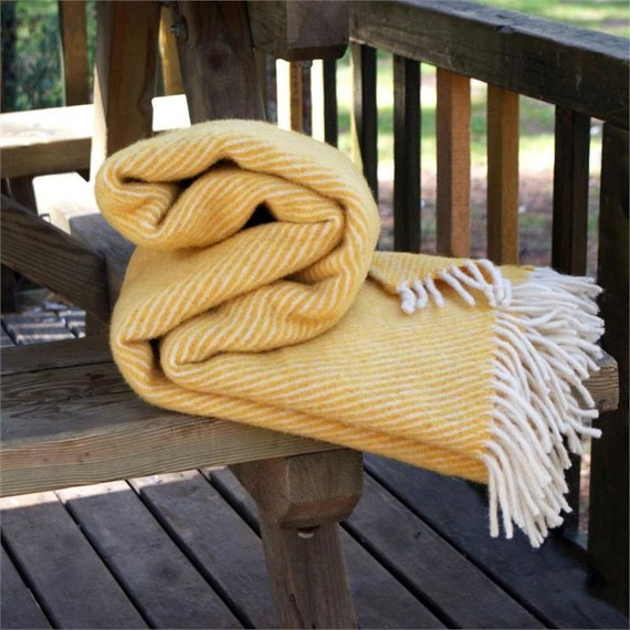 Yellowcream Striped Wool Blanketsofa Throwswool Throw By