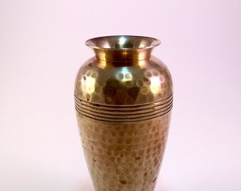 Vintage Hammered Brass Vase Solid Brass Made In India