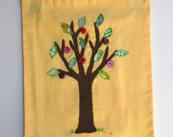 Appliqué apple tree art, hand embroidery, wall hanging, fibre art