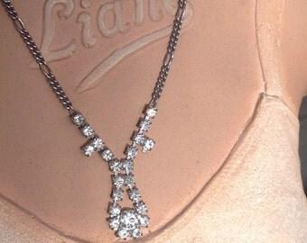 1930s necklace pendant with diamante vintage antique flapper