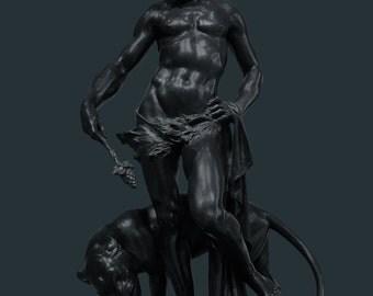 Man & Panther, Art Poster, Giclée Print, Sculpture Photograph, Graphic Poster, Panther