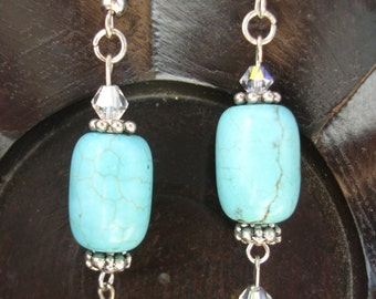 Turquoise & Swarovski drop earrings