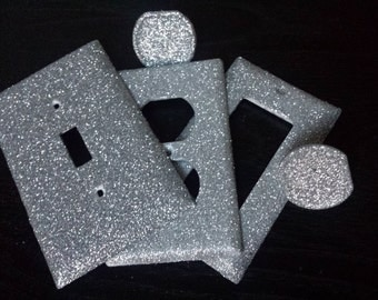 premium metallic silver glitter decorative bling light switch plates outlet covers u0026 child safety - Decorative Outlet Covers