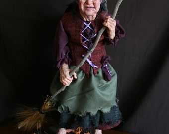 PARTY LEFTOVERS  witch art doll is a polymer clay sculpture by Sue Menz