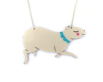 Capybara Necklace- hand painted pearlescent acrylic laser cut illustration - capybaras jewellery jewelry